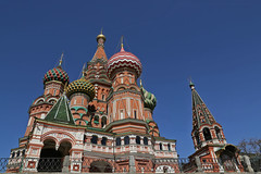 Moscow: Saint Basil's Cathedral (Mr.Enjoy) Tags: travel blue sky color colour brick church architecture facade exterior cathedral russia moscow spires unesco southern flame bonfire basil trinitychurch onion redsquare russian domes orthodox kremlin worldheritage saintbasils ivantheterrible cathedraloftheprotectionofmostholytheotokosonthemoat mrenjoy 155561