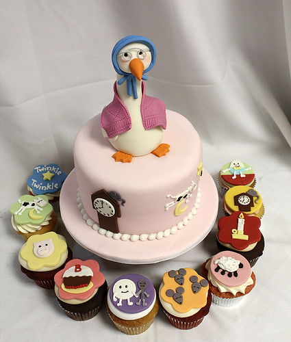 Mother Goose Nursery Rhymes Cake and Cupcakes