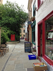 Street in Cambridge (Arkensiel Photographs) Tags: street trees cambridge cafe chairs unitedkingdom books tables
