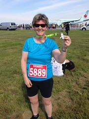 Me and my medal! (pigdump) Tags: tarmac race airplane airport medal runway 5k pearson yyz