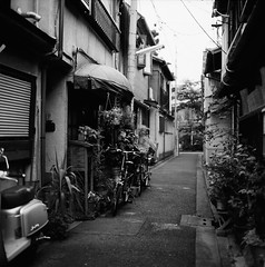 Just an Unmarkable Alley (Purple Field) Tags: street bw slr 120 6x6 film monochrome bicycle japan analog zeiss walking square iso100 alley kyoto kodak tmax hasselblad carl   medium  f28 cf planar  80mm 500cm