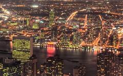 NYC & Lights (Luís Henrique Boucault) Tags: nyc newyorkcity longexposure travel bridge light sunset vacation sky usa ny newyork reflection building architecture brooklyn night america us nikon cityscape unitedstates manhattan brooklynbridge northamerica bluehour bigapple hdr estadosunidos tonemapped empirestates anawesomeshot d7000 luíshenriqueboucault