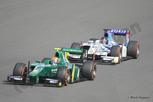 Alexander Rossi and  Jake Rosenzweig in the second GP2 race at the 2013 British Grand Prix