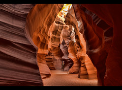 photographer in Upper Antelope Canyon, Page, Arizona. (jitenshaman) Tags: travel vacation arizona usa holiday southwest color nature landscape outdoors us scenery unitedstates outdoor indian canyon nativeamerican page antelope destination cave nationalparks canyons slotcanyon antelopecanyon southwesternunitedstates upperantelope worldlocations