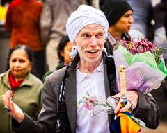 Festival of Chariots 2013 - 14 (garryknight) Tags: man london smile nikon trafalgarsquare krishna rathayatra hindu hinduism lightroom harekrishna iskcon 2013 festivalofchariots 55200mmvr internationalsocietyforkrishnaconsciousness d5100