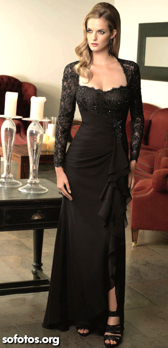 Vestido de festa preto com mangas