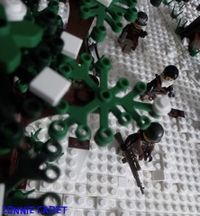 Battle of the Bulge (2) (LonnieCadet) Tags: world 2 snow soldier war lego battle assault american vignette patrol bulge checkpoint brickarms