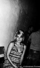 Floating (RumbleSkout3) Tags: leica blackandwhite girl hardware space shy blond drinks blonde grainy laurel westhollywood cutegirl hotnight