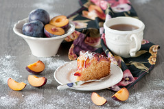 Plum cake (Oxana Denezhkina) Tags: autumn red summer food brown home cake closeup fruit breakfast pie table dessert cuisine wooden sweet swiss background traditional culture plum plate nobody fresh gourmet delicious biscuit homemade slice snack meal vegetarian pastry portion piece plums filling baked