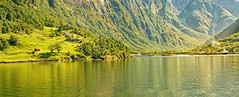 Norwegian Fjord (Charn High ISO Low IQ) Tags: travel cruise trees summer vacation panorama house mountain lake norway forest relax landscape cabin afternoon village cottage resort fjord hillside scandinavia tranquil goldenlight hugin summerbreak dxoopticspro nikefexpro canon6d