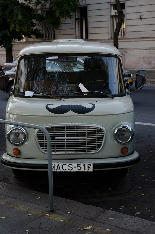 Rule #1 of traveling: When you see a picture of a car with a mustache, you take a picture of it. Seen in Budapest, Hungary.