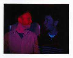 Holga-Style Double Exposure (Brock5604) Tags: blue red male men film boys colors strange night dark fun polaroid weird exposure experimental fuji experiment indoor guys double land instant fp100c wesavepackfilm