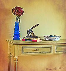 Still Life (derena_d.) Tags: stilllife yellow books vase textured embosser memoriesbook frenchkisstextures canonbookofimagination
