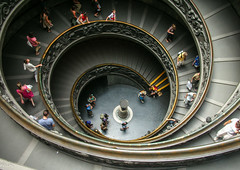 Double helix staircase (Tiigra) Tags: 2007 italy rome vatican architecture shape spiral stairs lazio pattern