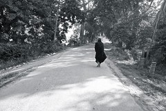 undecided (reinetor) Tags: street light shadow people bw monochrome eos asia burma picture monk 5d myanmar 24mm undecided strolling mark3 inwa 白黒写真 primelens 5dmk3 ef24f14lⅱ ef24lⅱ