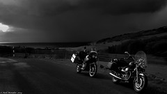 Get the waterproofs on ! (Neil. Moralee) Tags: africa road uk bw white storm black monochrome rain weather bike clouds canon honda dark scotland moody ride twin monotone powershot moto motorcycle biker touring xrv750 guzzi unpredictable a480 neilmoralee