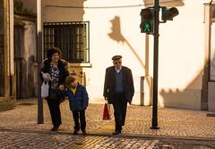 'Three Generations Crossing' (Canadapt) Tags: street boy shadow people woman man green portugal go pedestrian canadapt