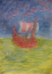 5th Grade: Painting; Pumpkins (ArneKaiser) Tags: arizona painting unitedstates waldorf flagstaff vikingship 4thgrade endofyearshow worksamples wetinwet autoimport mrkaisersclass vision:mountain=0635 vision:outdoor=0898 vision:sky=0717 vision:clouds=0571