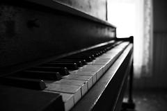 Forgotten Ivory (C.HillsWorld) Tags: blackandwhite bw abandoned keys mono dof lace sony curtain piano ivory bnw urbex sonynex