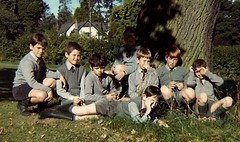 Time to relax in late summer (theirhistory) Tags: school tree boys grass shirt kids children tie trousers jumper shorts wellies rubberboots