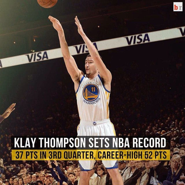 KLAY Thompson set an NBA record for points in a quarter on Friday night, netting 37 of Golden State's 41 points in the third en route to a 126-101 demolition of Sacramento.  Thompson, who finished with 52 points after leaving at the 9:28 mark of the fourt