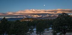 Moonset over lenticulars (Bill Bowman) Tags: sunrise colorado lenticularcloud moonset continentaldivide indianpeaks arapahopeak kiowapeak