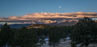 Moonset over lenticulars