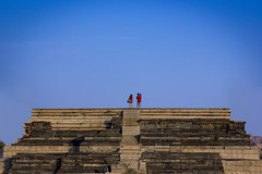 On Top of the World (Vilvesh) Tags: travel blue red people india color architecture canon photography ruins king palace 100mm karnataka hampi cwc krishnadevaraya chennaiweekendclickers vijayannagaraempire