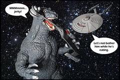 STAR TREK : THE ENTERPRISE INCIDENT : Whom Godzilla Destroy (DarkJediKnight) Tags: startrek poster humor fake battle godzilla parody klingon spoof enterprise cruiser uss motivational