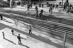 Southbank, February, London (silabob) Tags: light shadow people bw london modern stairs concrete blackwhite play squares crowd steps southbank blocks cubes polarizer sigma35mmf14