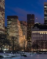 Central Park (Mike McLaughlin Photo) Tags: centralpark newyork newyorkcity winter snow night evening dusk theplaza plazahotel gmbuilding ibmbuilding sonytower attbuilding trumptower solowbuilding 9w57building bergdorfgoodman