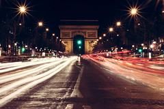Arc Of Light (garbourne) Tags: street city light lightpainting paris cars architecture painting french lights traffic transport arc triomphe trail arcdetriomphe lighttrail arcde