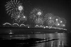 Lighting up the night (magaroonie) Tags: fireworks week46 forthroadbridge 7daysofshooting alittlesparkle blackandwhitewednesday