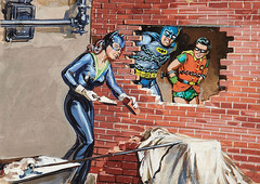 Caged by the Cat-Woman by Norman Saunders (Tom Simpson) Tags: robin television illustration vintage comics painting trapped tradingcard bondage bdsm comicbook batman 1960s bound catwoman topps chained adamwest batman1966 normansaunders cagedbythecatwoman
