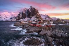 Hamny Sunrise (shaunyoung365) Tags: sea sky mountain seascape norway clouds sunrise landscape sony lofoten a7rii