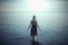 The Moon is Still Silver. 274/365 (aleah michele) Tags: ocean blue light sunset sea sky moon lake cold color beach water fairytale walking rocks soft silent sad emotion empty magic horizon shoreline calm romance luna adventure story fantasy shore soul 365 concept emotional mermaid conceptual tragic magical chill siren moonchild emerge vulnerable silverhair 365project conceptualportrait walkinginwater aleahmichele aleahmichelephotography themoonisstillsilver