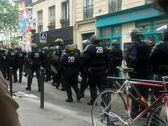 Police monitoring the protests near Canal Saint Martin (Bex.Walton) Tags: travel paris france weekend police protests canalsaintmartin manifestations manifs