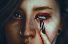 sanguine (Lucy Michaela N) Tags: iris red portrait white eye face closeup self dark hair blood eyes ears eerie lips creepy features nosering eyeshadow eyebrows