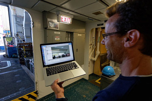 Staff on the R/V Sikuliaq are interacting with ONC staff in Victoria via Skype!