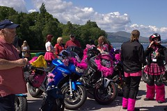Breast Way Round 2016 (Sybalan,) Tags: charity family pink summer people canon fun reflecting scotland colorful dancing feathers cancer sunny kind mohawk hugs familyfun care fundraising motorbikes lochlomond macmillan mohican lomondshores remeberance 500miles breastwayround httpsybalanphotographyweeblycom bestbracompetition