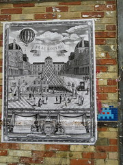 Space Invader PA_821 (tofz4u) Tags: streetart paris pasteup collage poster tile louvre mosaic spaceinvader spaceinvaders jr billboard invader pyramide affiche mosaque artderue 75020 pa821