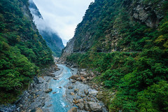 Taiwan-121116-405 (Kelly Cheng) Tags: travel mountain color colour green tourism nature water horizontal clouds forest river landscape daylight colorful asia day outdoor taiwan vivid nobody nopeople canyon colourful tarokonationalpark tarokogorge  traveldestinations  northeastasia