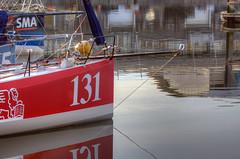 TransAt Yachts 30th April 2016 #5 (JDurston2009) Tags: red reflection sailing yacht plymouth barbican devon 131 sailingboat suttonharbour transat transatbakerly