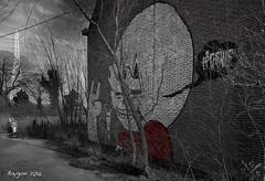 Horns up! (ericbaygon) Tags: red brick wall rouge graffiti nikon paint belgium belgique belgie tag dessin peinture brique duel mur dx nikonpassion d300s