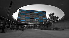Blue (Erich Hochstger) Tags: blue school bw building architecture modern austria sterreich architektur sw blau gebude hdr hof schule schoolyard sigma1020mm amstetten schulhof canoneos70d