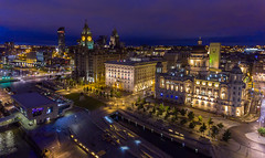 Pier Head, Liverpool Waterfront (Dave Wood Liverpool Images) Tags: night liverpool lowlight waterfront aerial merseyside