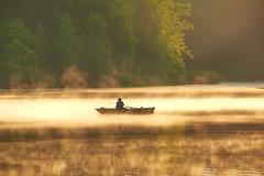 Morning Glow (green2mm1) Tags: summer sun mist lake water fog sunrise golden boat fishing treeline