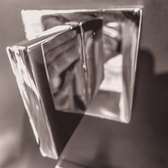 Squares (Thad Zajdowicz) Tags: pasadena california zajdowicz leica availablelight lightroom indoor inside metal bathfixture abstract fineart reflections closeup squareformat shape square 1x1diagonal 366 365 monochrome blackandwhite bw black white light shadow lines angles blur conceptualimage