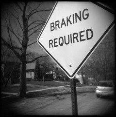 I Brake For Signs About Braking (Voxphoto) Tags: road bw sign vw holga trix annarbor brakes sq veedub