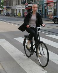 Amsterdam De Pijp Van Woustraat bike blond (GeRiviera) Tags: street holland netherlands girl dutch amsterdam bike bicycle de candid nederland van fiets zuid noordholland pijp straat fahrad woustraat